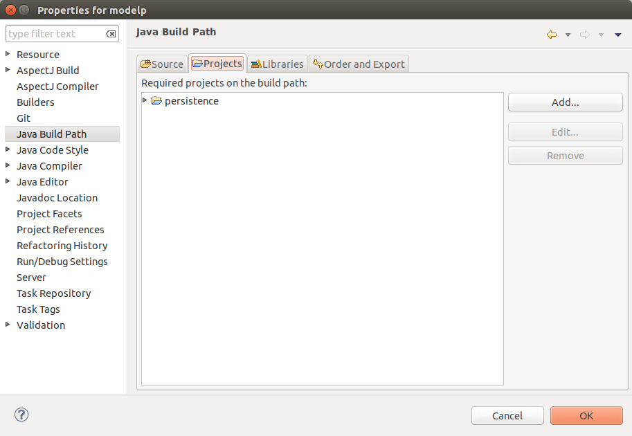 the resource is not on the build path of a java project